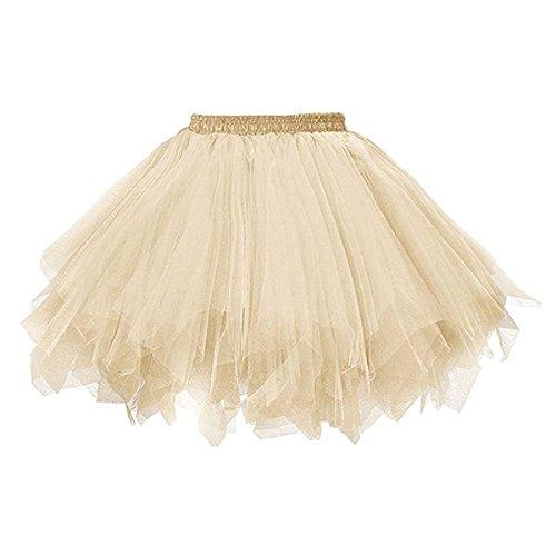 Big Girls Tutu Skirts Layered Tulle Princess Dresses Sparkle Halloween Tutu Champagne