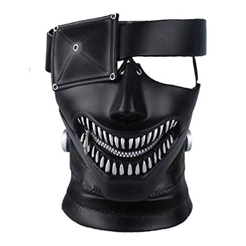 LIUQI Tokyo Ghoul Maske Kaneki Maske mit verstellbarem Reißverschluss, 3D-MaskeJapan Anime Maske Cosplay Halloween Cosplay Requisiten Verstellbare Kostümmasken