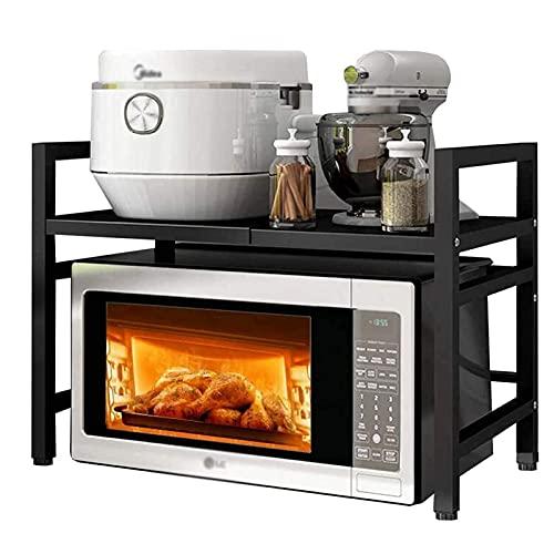 wangpu Estante para horno de microondas, altura ajustable, expandible, estante para encimera de cocina, estante para microondas, estante de almacenamiento para encimera, color negro