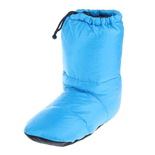 sharprepublic Suaves Y Cómodas Zapatillas de Tienda de Plumón de Ganso, Botines para Acampar Al Aire Libre en El Interior - Azul XL, 35-47