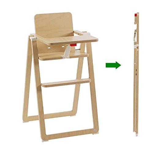 Supaflat klappbarer, stabiler Kinder-Hochstuhl aus Holz mit Tisch, Sitzgelegenheit für Kleinkinder am Ess-Tisch, Kinder-Stuhl aus nachhaltigem Buchenholz, modernes Möbelstück in Natur Braun