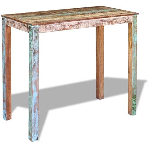 Festnight Retro-Stil Bartisch Stehtisch Bistrotisch aus Recyceltes Massivholz als Esstisch oder Frühstücksbar 115 x 60 x 107 cm