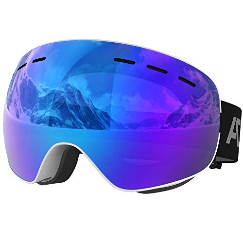 ACURE Ski Goggles- OTG Frameless Snow Snowboard Goggles of Dual Lens with Anti Fog and UV400 Protection for Men, Women, Adults & Youth (Blue)
