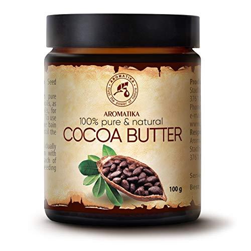Manteca de Cacao 100g - Sin refinar - Burkina Faso - 100% Puro y Natural - Cuidado del cuerpo Mantequilla de Cocoa - Estiramiento - Cabello - Botella de Vidrio