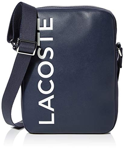 Lacoste heren L.12.12 Cuir Animation schoudertas, blauw (Dark Sapphire), 4,5 x 23 x 17 centimeter