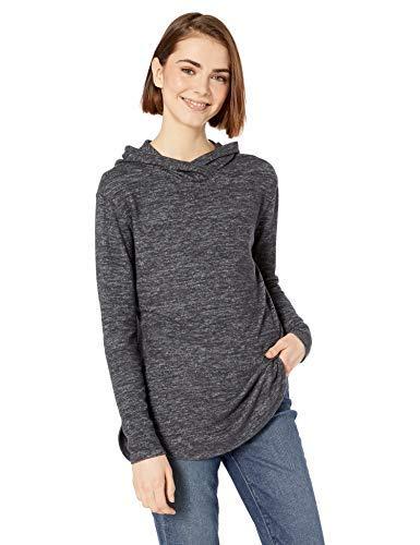 Marca Amazon - Daily Ritual - Jersey cómodo de punto con capucha para mujer, Negro (Black Marl), US XL (EU 2XL)