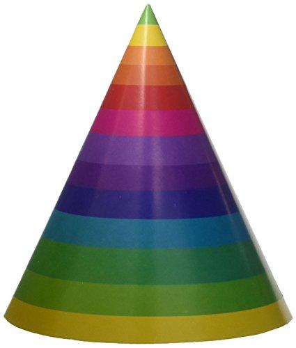 Creative Converting Partyhüte für Erwachsene, 8 Stück, Regenbogen, Papier