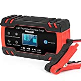 ABLY Car Battery Charger 12V/8A 24V/4A Automatic Smart Battery Charger/Maintainer with LCD Display Pulse Repair Charger Pack for Car, Lawn Mower, Motorcycle, Boat, SUV and More…