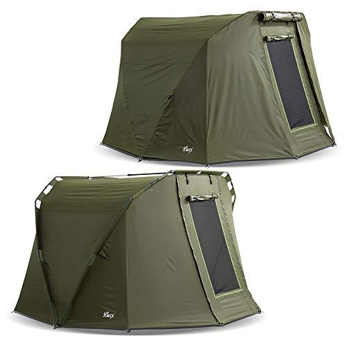 Lucx® Caracal Bivvy + Winterskin 1 bis 2 Mann Angelzelt + Überwurf 2 Personen Karpfenzelt + Overwrap Angler Zelt Carp Dome + Skin 10.000mm Wassersäule