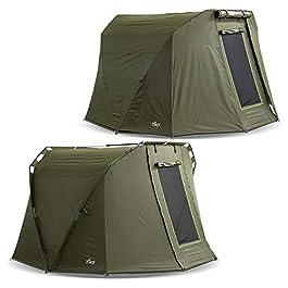 Lucx® Caracal Bivvy + Winterskin Tente de pêche pour 1 à 2 personnes + couverture pour 2 personnes + housse de protection pour la pêche à la carpe + colonne d'eau de 10 000 mm