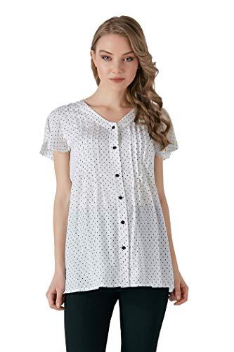 M.M.C. Punkte-Print Chiffon Umstands-Bluse weiß mit schwarzen Punkten – Schwangerschaftsmode Umstandsmode Freizeitbluse für die Schwangerschaft - Kurzarm (Weiß, 42)