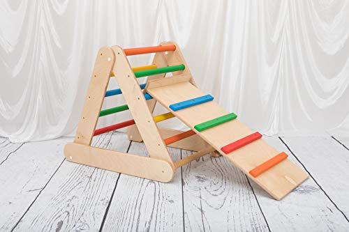 triangolo pikler 65-65-65 cm pieghevole doppia posizione con rampa e scivolo scala rampicante per bambini multicolor