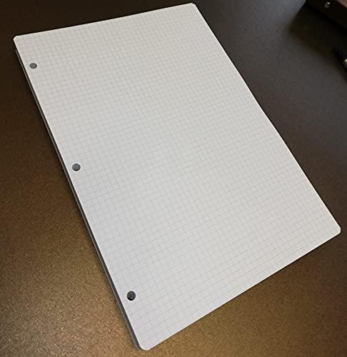 Recambio de 100 hojas (200 páginas), papel grueso de 120 g/m², 3 agujeros, A4, 20,5 x 29,2 cm, cuadriculado de 5 mm, DIN A4, 3 agujeros, para carpeta grande A4 con 3 anillas.