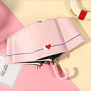 Umbrella, Small Fresh Dual-Use Umbrella Creative Folding Sunscreen Umbrella Hang Portable Sunshade,Pink