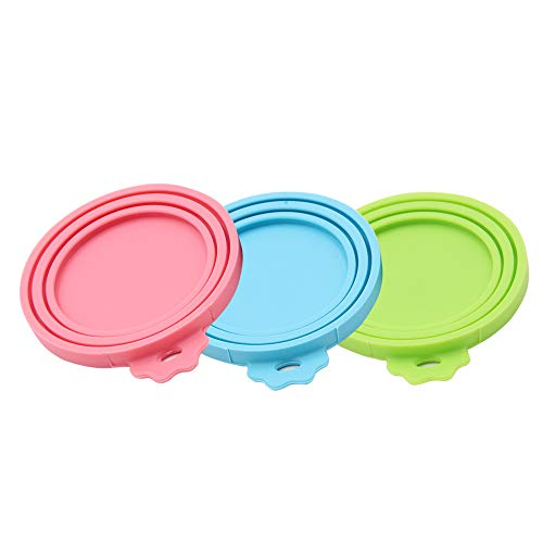 SENDR.KR Tierfutter-Dosendeckel, 3er-Set Universal-Silikon-Dosendeckel für Tierfutterdosen, BPA-frei, spülmaschinengeeignet. Deckel für Dosen für Hunde und Katzen