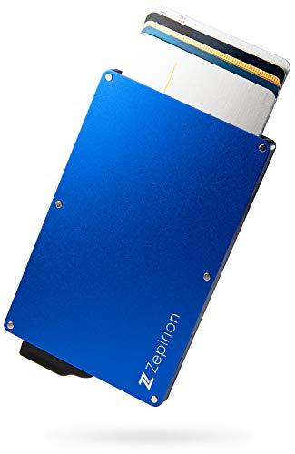 [zepirion] クレジットカードケース スキミング防止 磁気防止 スライド式 スリム マネークリップ付き アルミニウム ブルー