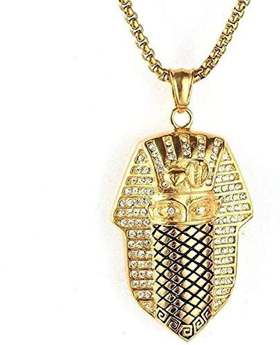 Collar Mujer Collar Hombre Collar Joyas de acero inoxidable Collar para hombre Hip Hop Pirámide Cleopatra Collar con colgante de acero de titanio Oro blanco Regalo para mujeres Hombres Niñas Niños Col