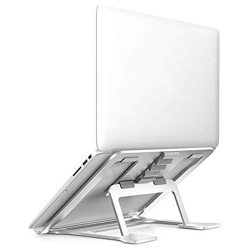 Allamp Adjustable Aluminum Laptop Stand, Compatible with 10 To 14 inch Laptop, Ventilated Ergonomic Desktop Bench Mount for Office Desk, Metallic Silver