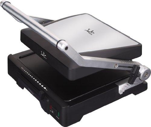 Jata GR1100 Grill de Asar Doble Línea Profesional con Placas Mixtas de 27,5 x 24 cm Antiadherente Libre de PFOA Placa Superior Ajustable 6 Posiciones Cuerpo Aluminio Fundido 2000 W, aluminio, negro