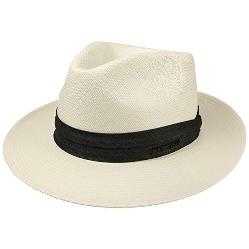 Stetson Jenkins Bleached Panamastrohhut Herren - Made in Italy Sonnenhut Sommerhut Herrenhut mit Ripsband Frühling-Sommer - 60 cm cremeweiß