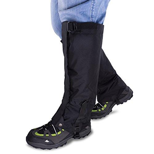 Qshare Beingamaschen für Stiefel, wasserdicht, Wandern, Klettern, Jagd, Schnee, schwarz, Black-L