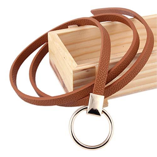 Cinturón de cuero de PU para mujer Cinturón fino Cinturón para vestido y pantalones Ancho de 0.9 cm