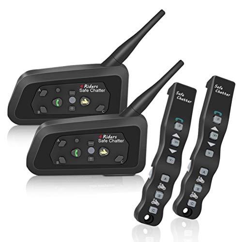 LEXIN LX-A4 Bluetooth Motorradhelm Communicator Headset, Gegensprechanlage bis 4 Fahrer, 1200 Meter Reichweite, mit Fernbedienung