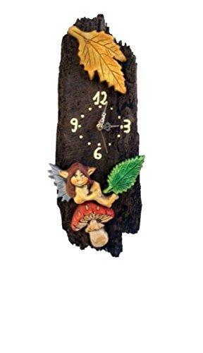Reloj de madera pared ninfa-seta-hojas