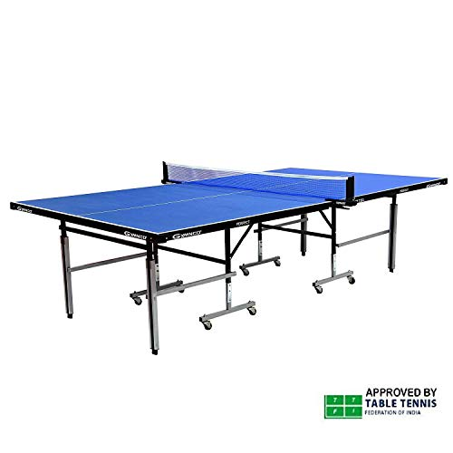 Gymnco Perfect Table Tennis Table With Levellers Top 18 mm ( TT Table Cover + 2 TT Racket & 3 Balls)