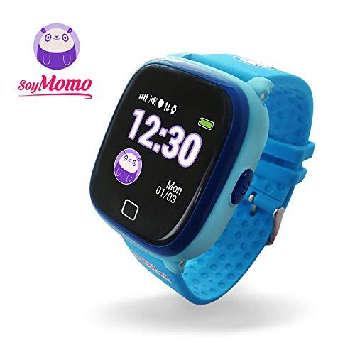SoyMomo H2O Reloj Inteligente para Niños con GPS y Botón SOS, Móvil para niños con Ranura para SIM Que Permite Llamadas y Mensajes, Smartwatch para Niños con Rastreador GPS Resistente al Agua (Azul)