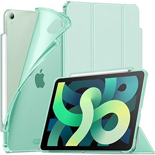 INFILAND Funda Case para iPad Air 4 Generación,iPad 10.9 Inch 2020 Cover Soporte,[Auto-Reposo/Activación Cubierta] [Espalda translúcida Mate] [Carcasa Ligera] [Ultra Delgada Estuche],Menta Verde