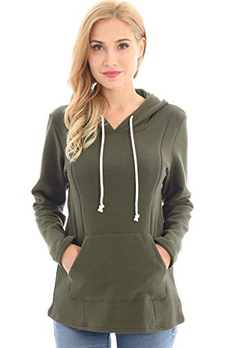 Bearsland Womens Maternity Clothes Nursing Hoodie Breastfeeding Sweatshirt With Pockets,Army Green,Large