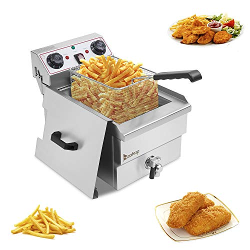Lucakuins 1700W Stainless Steel Deep Fryer with Basket 118L Capacity Oil Frying Pot with Handle Electric Deep Fryer with Timer and Temperature Knobs for Home Silver Single Tank