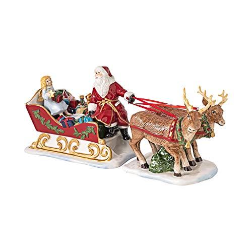 Villeroy & Boch - Christmas Toy's Memory Schlitten, dekorative Figur aus Hartporzellan, für Teelichter geeignet, bunt, 36 x 14 x 17 cm