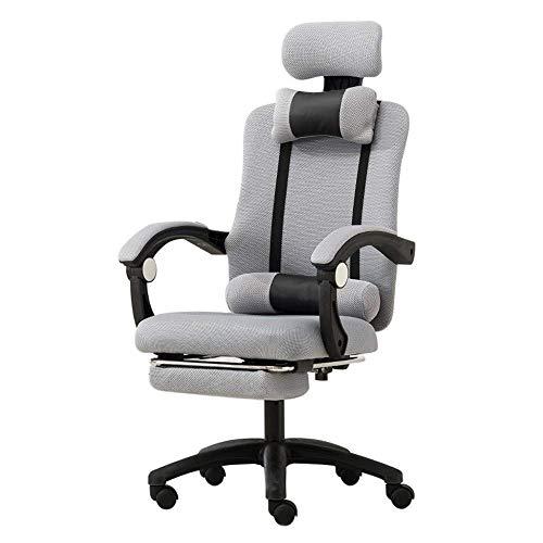 Schwenkbarer Bürostuhl Drehstuhl Gaming ergonomische Computer Mesh-Lehnstuhl mit Verstellbarer Lumbalstütze Kopfstütze Fußstützen Video Game Chair Racing Bürostuhl (Color : Gray)