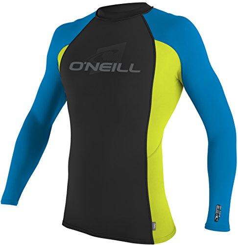 O'Neill Wetsuits UV Sun Protection Mens Skins Long Sleeve Crew Sun Shirt Rash Guard, Black/Lime/Blue, Large