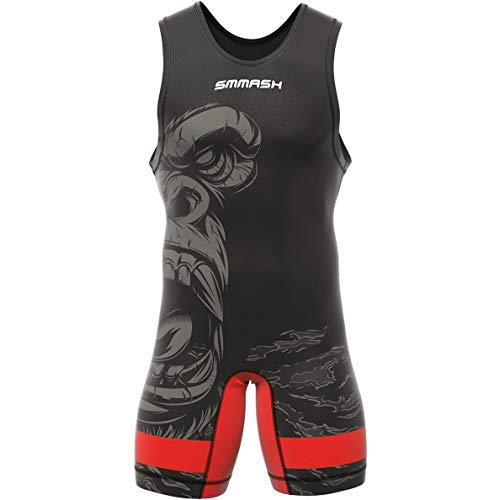 SMMASH Gorilla Ringeranzug für Herren, Wrestling Singlet, Material Atmungsaktiver und Haltbar, Bodysuit mit Gummizug an der Beinöffnung, Ringer Trikot, Hergestellt in der EU (XL)