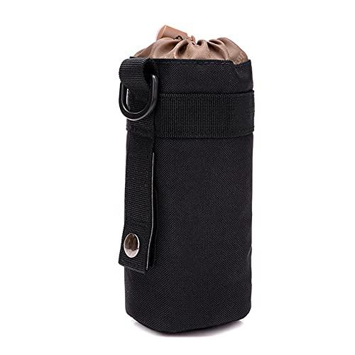 Kixnor Bolsa para Botella de Agua MOLLE, Bolsa Táctica Compacta Resistente al Agua, Bolsas Colgantes para la Cintura, Bolsa para Botella de Agua con Cordón (Negro- 1 Pack)