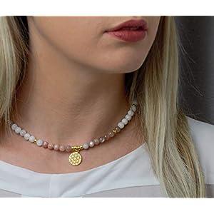 Echte Mondstein-Kette Edelstein mit Anhänger Lebensblume, Silber oder Silber vergoldet, schönes Geschenk für Frauen