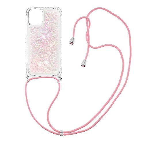 Custodia protettiva in silicone TPU con cordino per iPhone 12 (6,1 pollici) (stelle rosa fluorescenti)