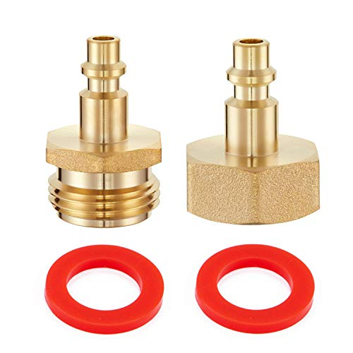 Litorange 2 PCS Lead-Free Brass Winterize Sprinkler Systems: Air Compressor 1/4' Quick Connect Plug To GHT 3/4' Garden Hose Faucet Blow Out Adapter Fitting For RV, Travel Trailer, Boat & Camper