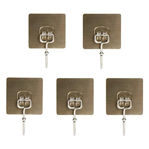 Kyien 5 ganchos adhesivos para pared de 30 libras para baño, cocina, resistentes, ganchos autoadhesivos