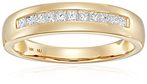 1/2 Carat Diamond, Channel Set 14K Yellow Gold Princess-cut Diamond Men's Wedding Band Finger Ring (I-J, I1-I2) Real Diamond Fine Jewelry for Boys Him Dad |by La4ve Diamonds| Gift Box Included