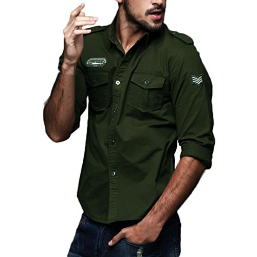 Hombre Camisas Manga Larga Militar Estilo Color Sólido Camiseta De Acampada Y...