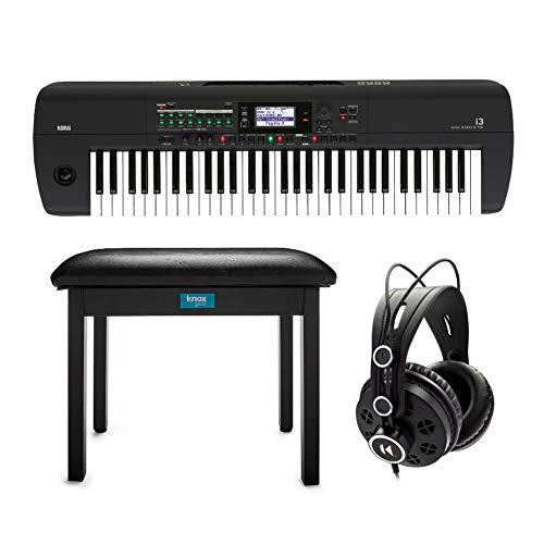 Korg i3 61-Key Music Workstation (Matte Black) Bundle with Knox Gear Flip-Top Bench (Black) and Studio Headphones (3 Items)