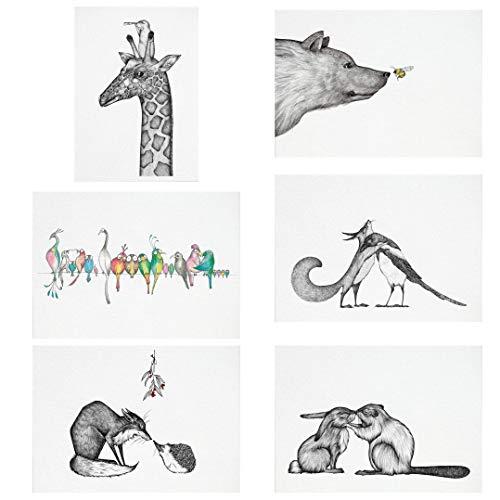 Ligarti Postkarten Set   6 nachhaltige Grußkarten   Geburtstagskarte   Bambus Papier (Freundschaft)