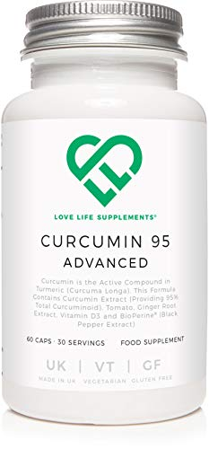 Curcumin 95 Advanced by LLS | High Strength Curcumin (the Active Component of Turmeric) with 95% Curcuminoids + BioPerine, Vitamin D, Tomato and Ginger Root | 60 Capsules | Love Life Supplements - 'Clean, Effective, High Quality'