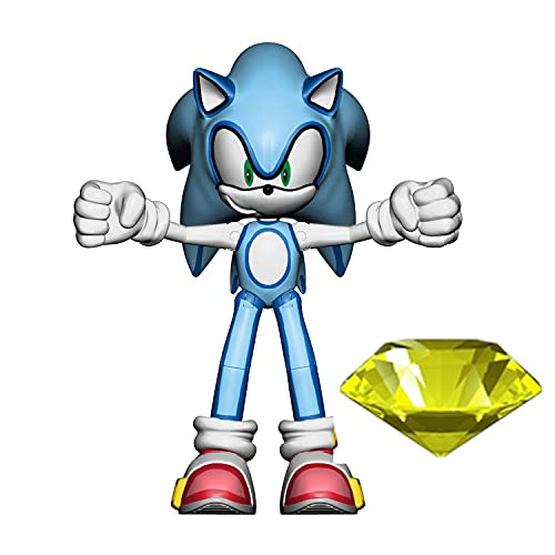 Sonic The Hedgehog 4-Inch Action Figure Modern Sonic with Yellow Chaos Emerald Collectible Toy