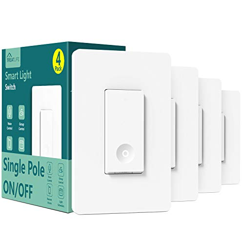 Smart Switch 4 Pack, Treatlife 2.4Ghz Smart Light Switch WiFi Light Switch Single-Pole, Neutral Wire Required, Works with Alexa, Google Home and SmartThings, Smart Home Remote Control, FCC/ETL Listed
