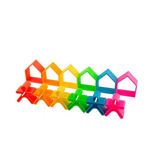 dëna Kid 6X House 6X NEÓN Juguetes creativos para apilar y Encajar Que ayudan al Desarrollo de la psicomotricidad Fina